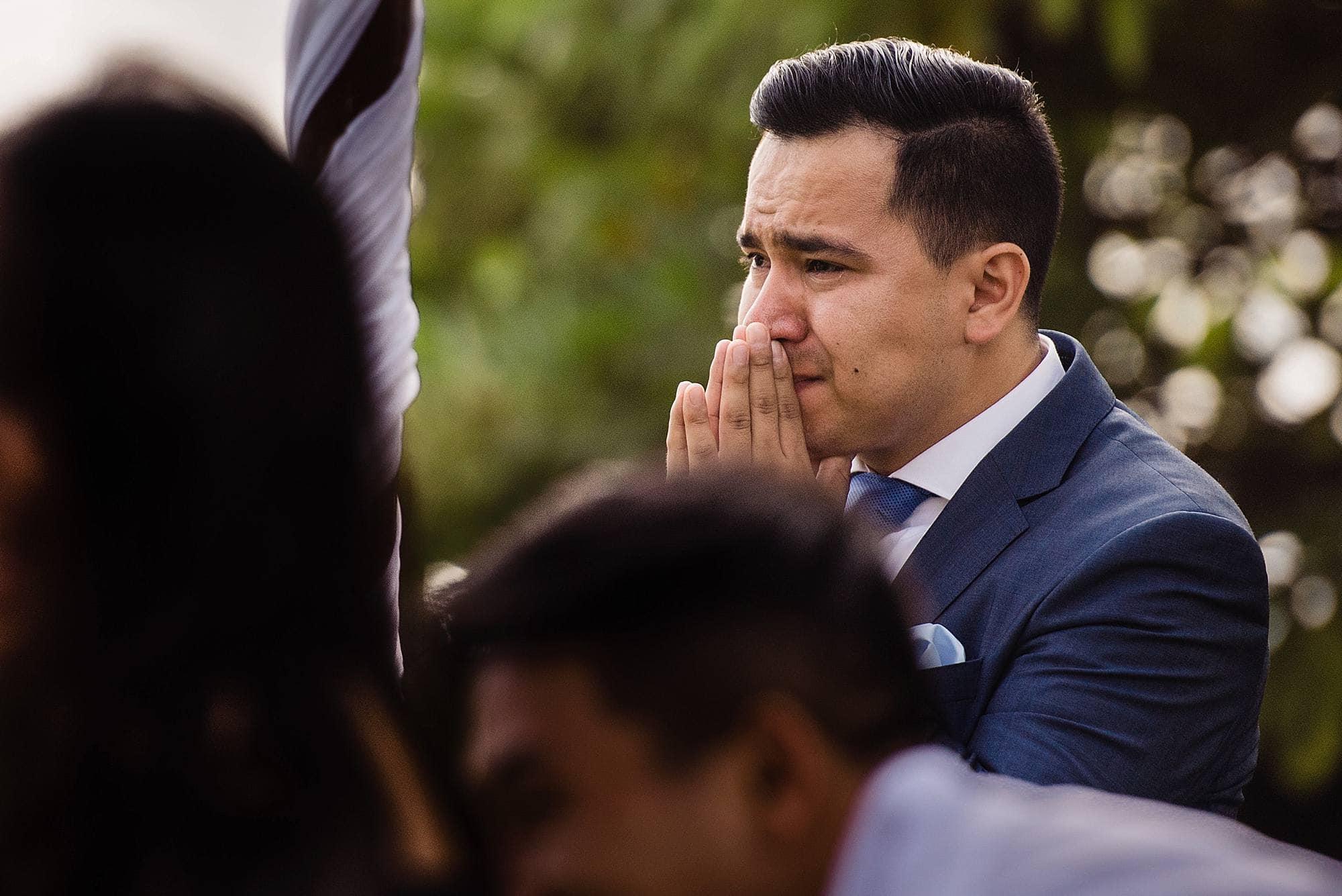 emotional groom at maui wedding
