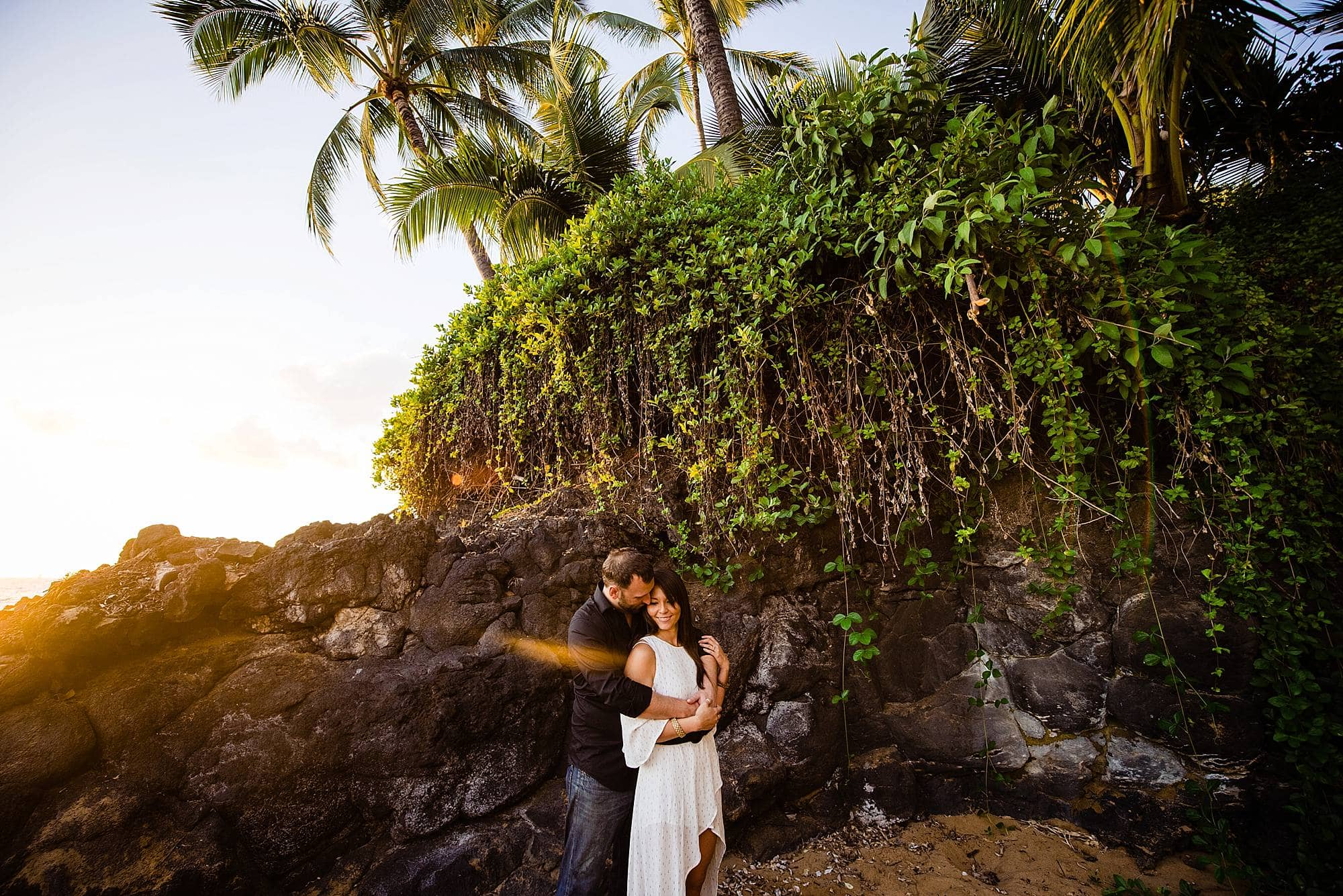 sunset portraits in maui with vines