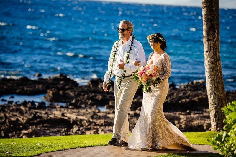 dad escorting daughter at five palms maui wedding