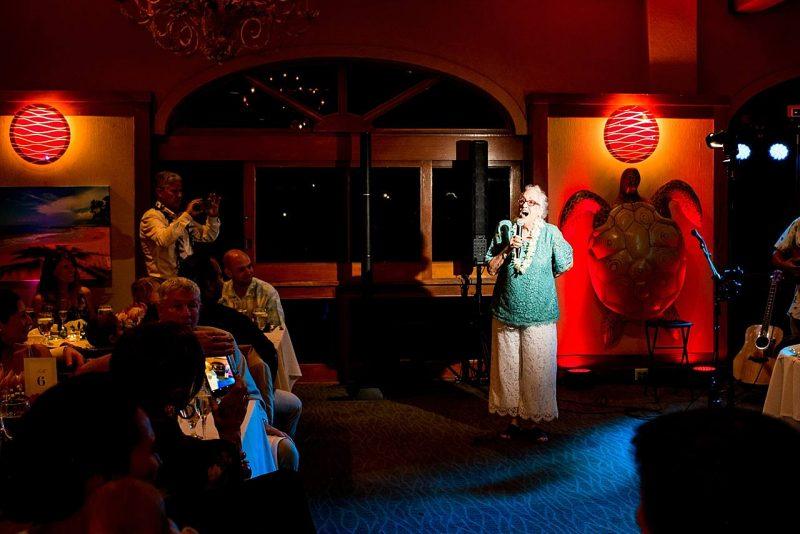 grandmother singing at five palms maui restuarant wedding