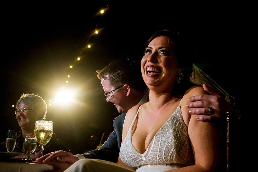 bride reacting to speeches