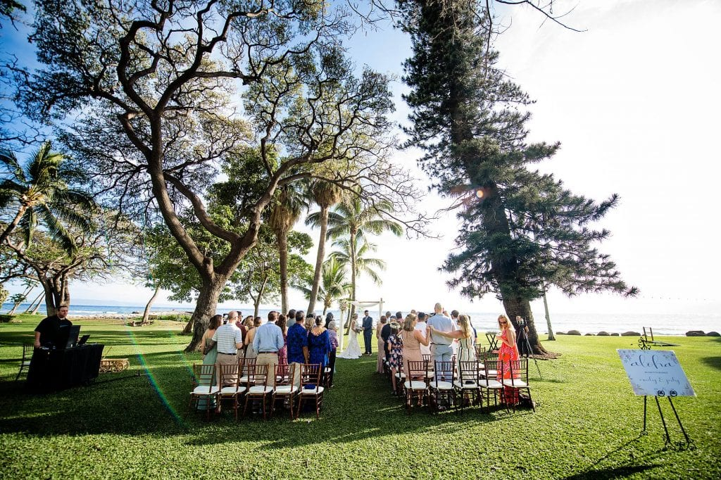 ceremony setup at olowalu plantation house