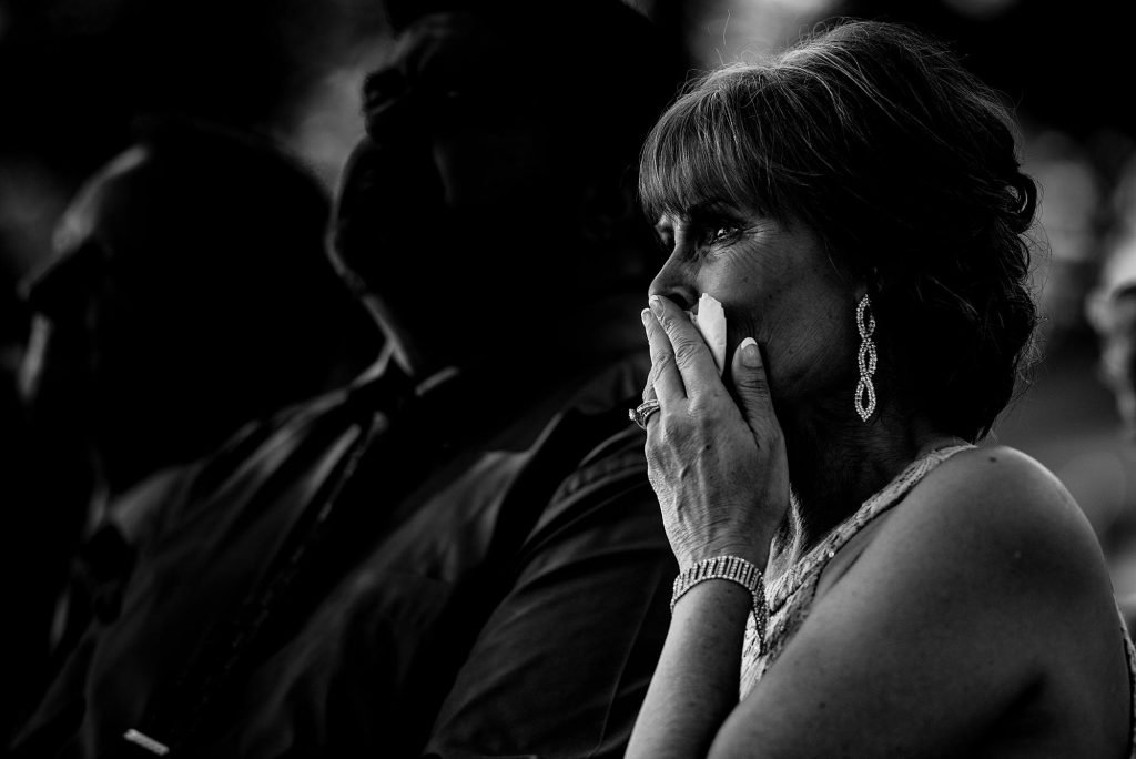 emotional photo of mother of the bride during ceremony