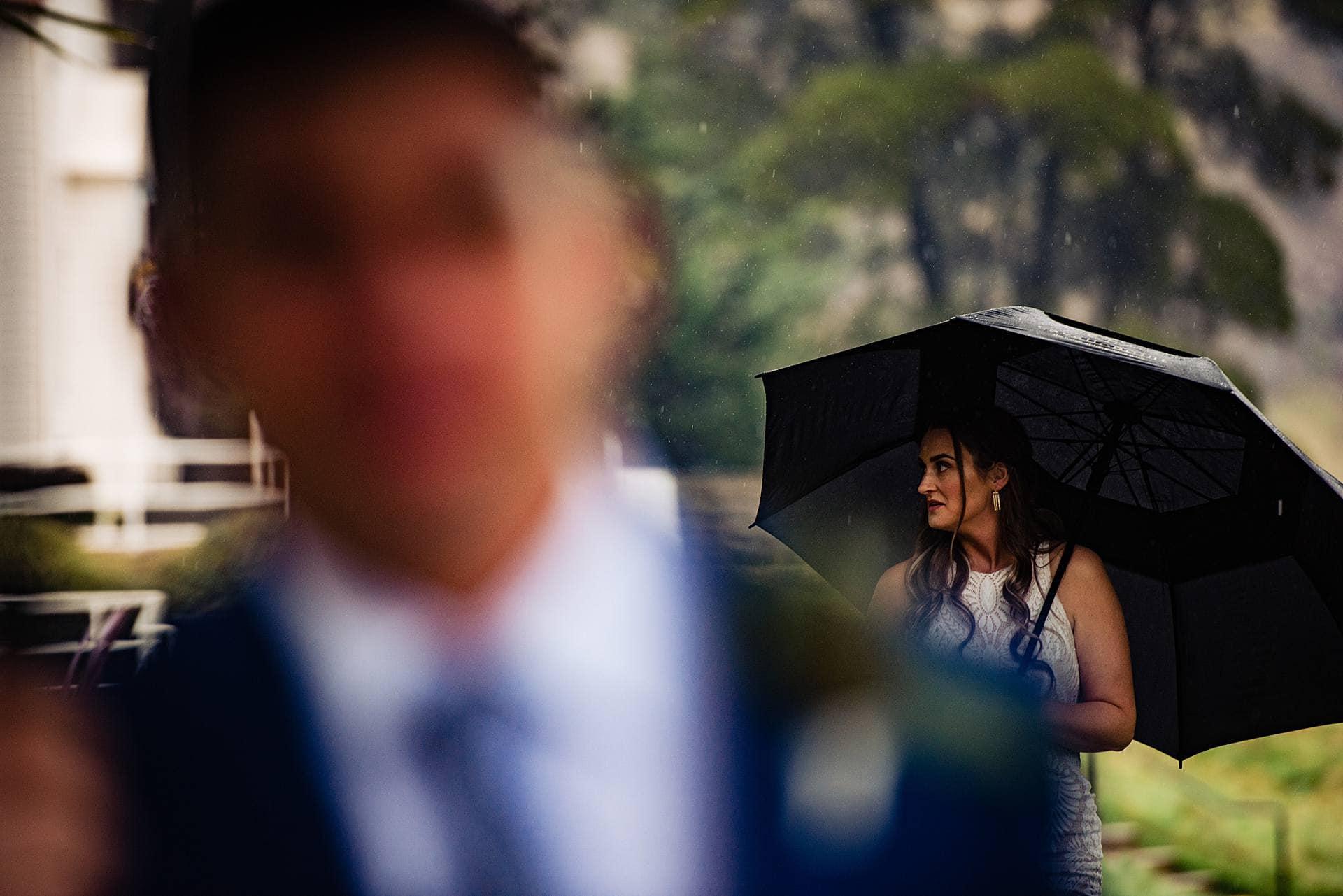 Rainy day wedding portraits