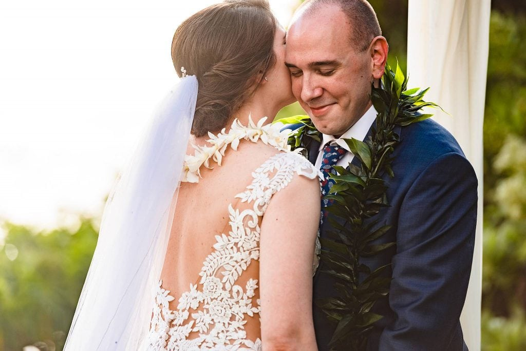 bride and groom's maui wedding ceremony